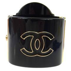Chanel Rare Black Gold Rue Cambon Wide Evening Cuff Charm Bracelet