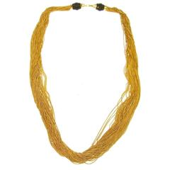 Gucci Gold Multi Strand Bamboo Drape Drop Evening Necklace