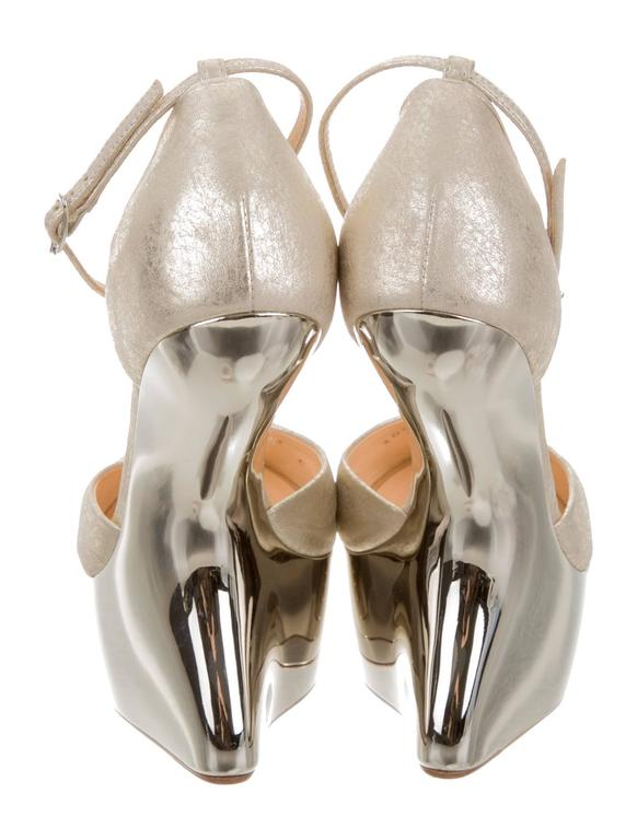 Giuseppe Zanotti NEW & SOLD OUT Futuristic Leather Wedge Sandals Heels in Box  In New never worn Condition For Sale In Chicago, IL