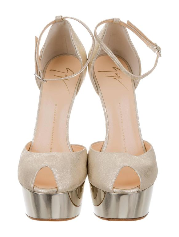 Brown Giuseppe Zanotti NEW & SOLD OUT Futuristic Leather Wedge Sandals Heels in Box  For Sale