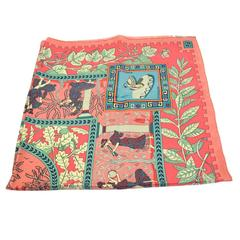Hermes Multi Color Pastel Silk Scarf