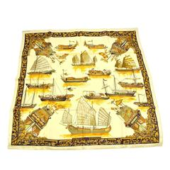Hermes Vintage Gold Silk Scarf in Box
