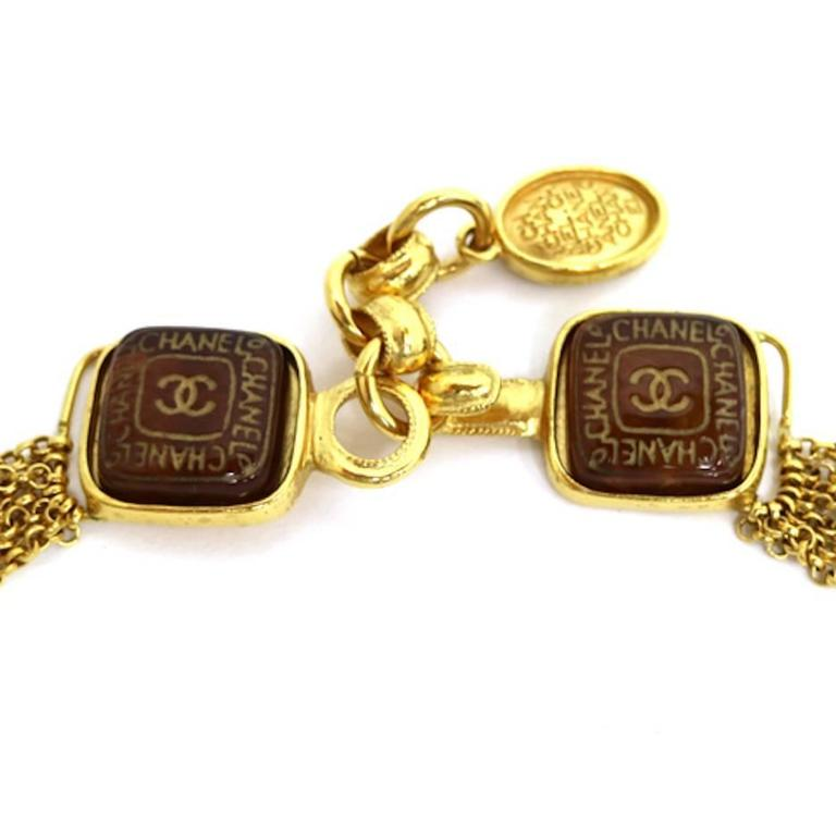 Chanel Vintage Rare Cognac Gripoix Gold Cross Charm Evening Necklace in Box 3
