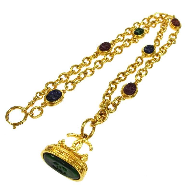 Chanel Vintage Rare Multi Gripoix Gold Charm Evening Drape Necklace in Box 1