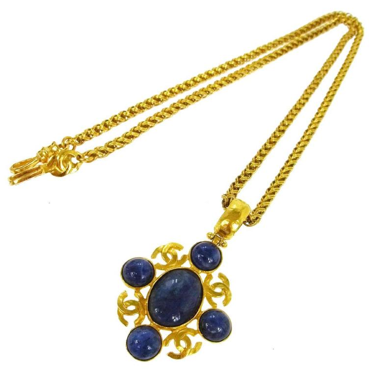 Chanel Vintage Rare Gripoix Gold Multi Point Charm Evening Drape Necklace 1
