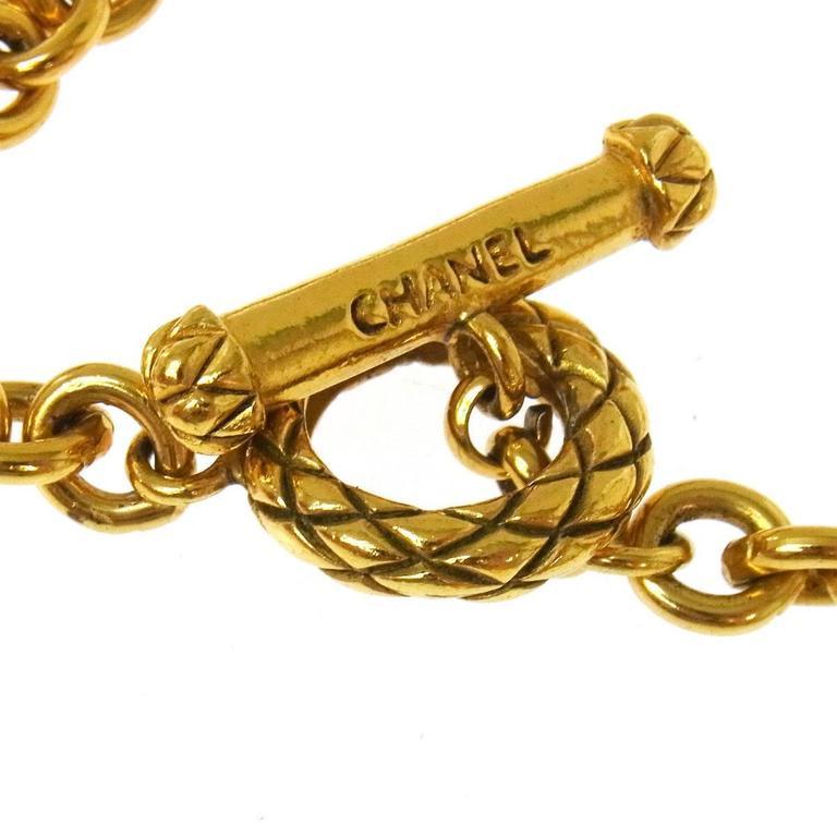 Chanel Vintage Rare Textured Gold Charm Barrel Long Evening Drape Necklace w/Box 6