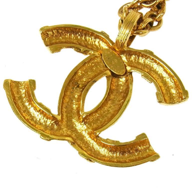 Chanel Vintage Rare Textured Gold Charm Barrel Long Evening Drape Necklace w/Box 4