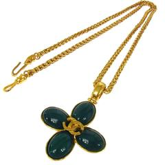 Chanel Vintage Rare Gold Charm Gripoix Clover Long Evening Drape Necklace in Box