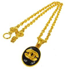 Chanel Vintage Rare Gold Black Cameo Charm Long Evening Drape Necklace