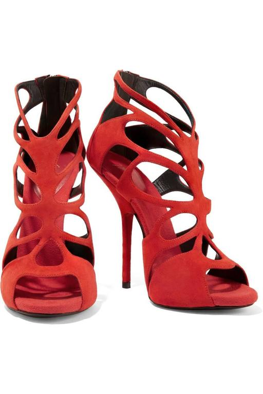 "CURATOR'S NOTES  Giuseppe Zanotti NEW & SOLD OUT Red Suede Cut Out Sandals Heels in Box available at Newfound Luxury  Size IT 37 Suede Zipper closure  Made in Italy Heel height 5.5"" Includes original Giuseppe Zanotti box"