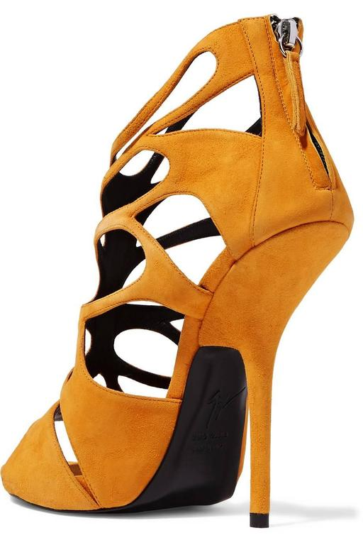 Giuseppe Zanotti NEW & SOLD OUT Mustard Suede Cut Out Sandals Heels in Box 3