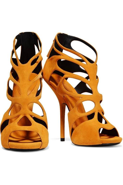 Giuseppe Zanotti NEW & SOLD OUT Mustard Suede Cut Out Sandals Heels in Box 2