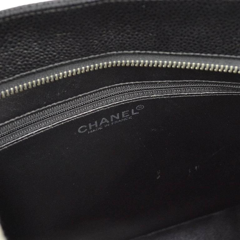 Chanel Black Caviar Silver Carryall Classic Evening Top Handle Tote Bag For Sale 4