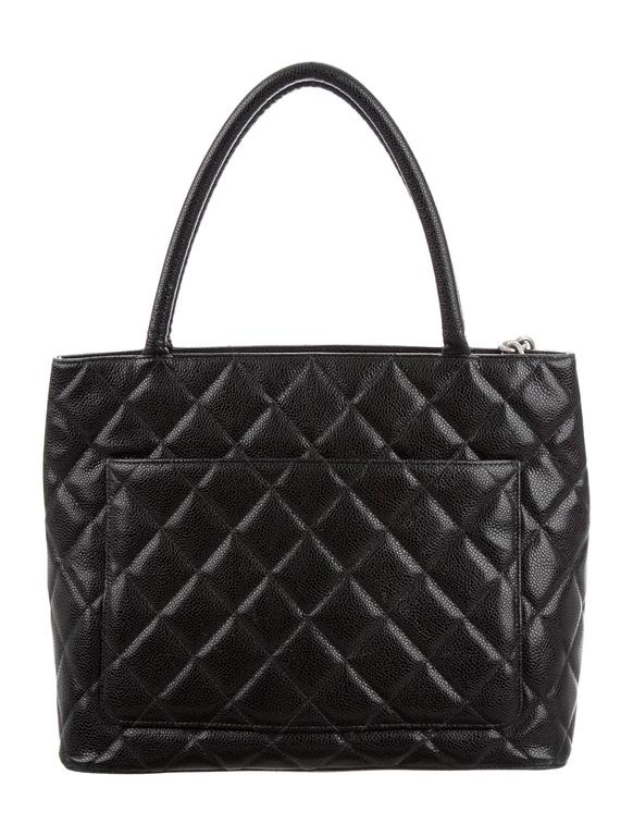 Women's Chanel Black Caviar Silver Carryall Classic Evening Top Handle Tote Bag For Sale
