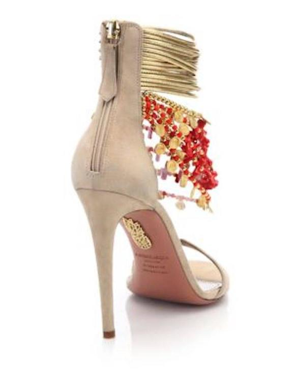 Aquazzura NEW & SOLD OUT Nude Suede Gold Embellished Sandals Heels in Box In New never worn Condition For Sale In Chicago, IL