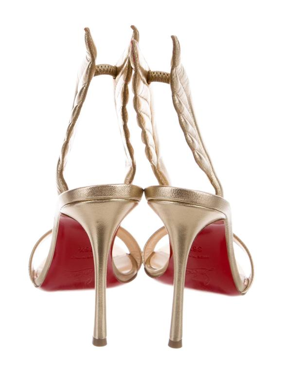 Christian Louboutin NEW & SOLD OUT Gold Leather Futuristic Sandals Heels in Box 3