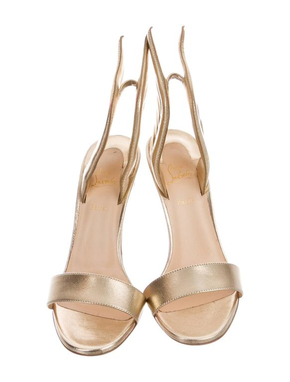 Christian Louboutin NEW & SOLD OUT Gold Leather Futuristic Sandals Heels in Box 2