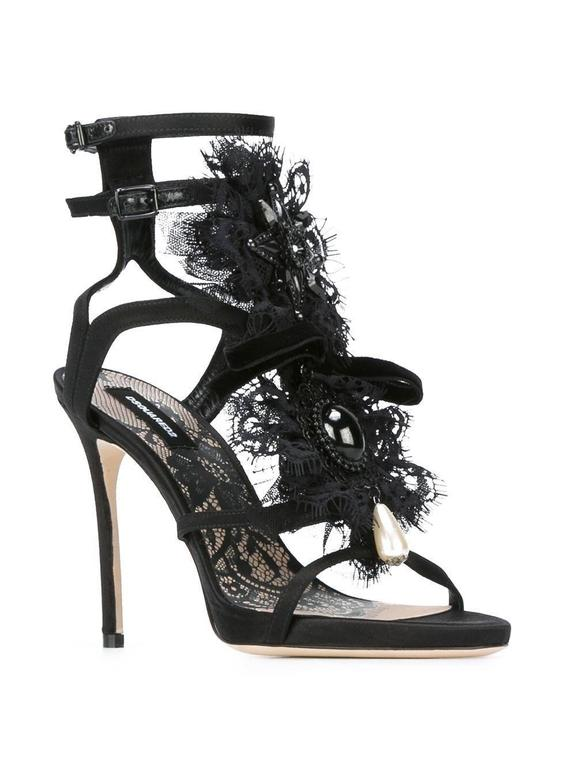 """DSQUARED2  NEW & SOLD OUT Black Stone Pearl Evening Heels Sandals in Box available in Newfound Luxury  Size IT 36 Satin  Velvet Glass stone Sequin  Side buckle closure  Made in Italy Heel height 4.25"""" Includes original DSQUARED2 box"""