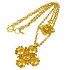 Chanel Vintage Gold Textured Double Cross Charm Lion Drape Necklace in Box