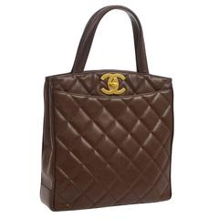 Chanel Caviar Leather Chocolate Top Handle Kelly Style Satchel Shoulder Bag