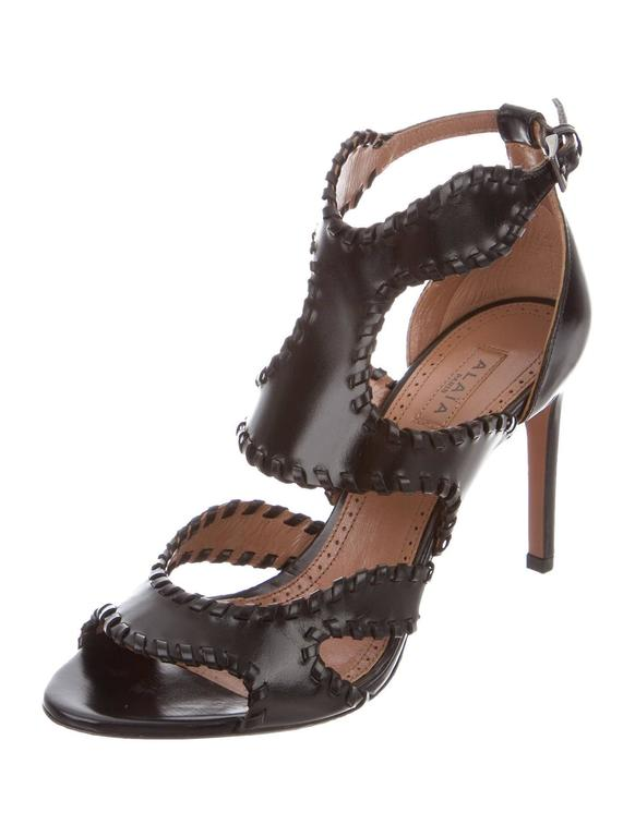 Alaia NEW & SOLD OUT Black Leather Fringe Cut Out Sandals Heels in Box 2