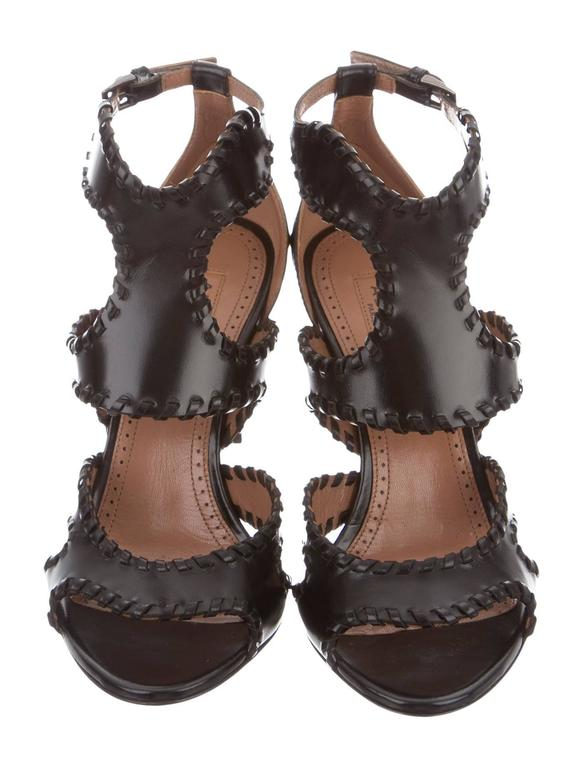 Alaia NEW & SOLD OUT Black Leather Fringe Cut Out Sandals Heels in Box 3
