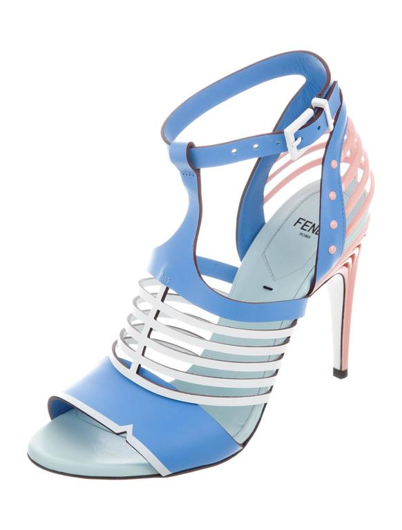 Fendi new tiffany blue pink white leather cut out sandals heels at curators notes fendi new tiffany blue pink leather cut out sandals heels size it 36 leather junglespirit Gallery
