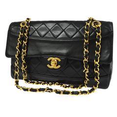 Chanel Vintage Black Lambskin Leather Evening Shoulder Flap Bag