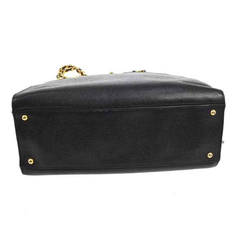 Chanel Vintage Black Caviar Leather Large Carryall Shopper Shoulder Bag For Sale 3