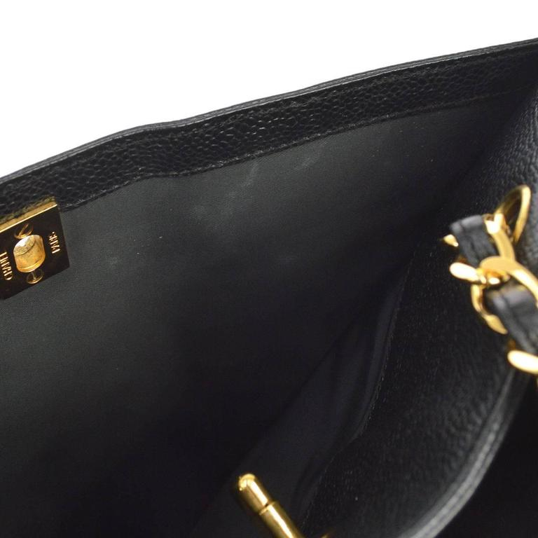 Chanel Vintage Black Caviar Leather Large Carryall Shopper Shoulder Bag For Sale 4