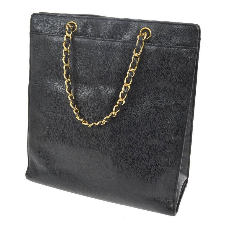 Chanel Vintage Black Caviar Leather Large Carryall Shopper Shoulder Bag For Sale 1