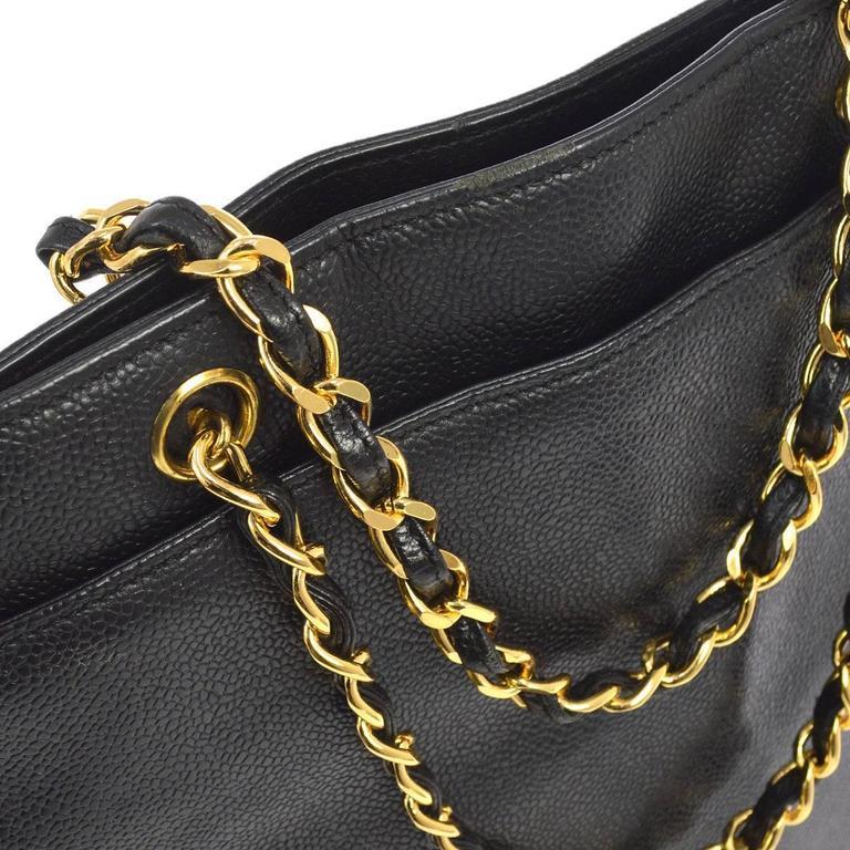 Chanel Vintage Black Caviar Leather Large Carryall Shopper Shoulder Bag For Sale 2