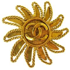 Chanel Vintage Gold Braided Sun Charm Pin Brooch
