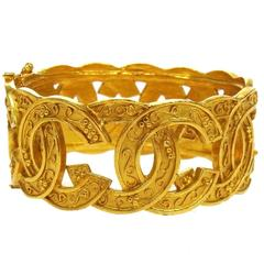 Chanel Vintage Gold Textured Charm Cuff Evening Bracelet