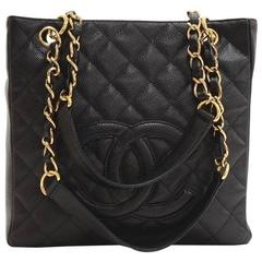 Chanel Black Caviar Leather Shopper Chain Evening Shoulder Tote Bag