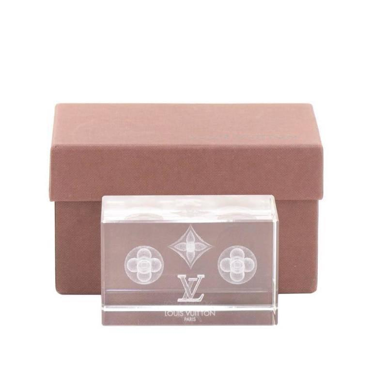 Louis Vuitton Monogram Crystal Cube Desk Table Decorative Paper Weight in Box
