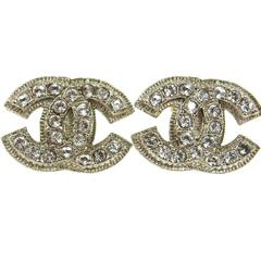 Chanel Silver Textured Rhinestone Jewel Charm Large Evening Stud Earrings