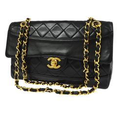 Chanel Classic Black Lambskin Single/Double Chain Flap Evening Shoulder Bag
