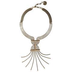 Lanvin New Runway Brass Geometric Chandelier Evening Long Drop Dangle Necklace