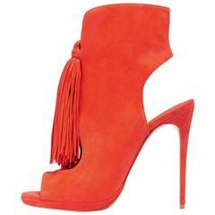 Christian Louboutin New Orange Suede Fringe Evening Sandals Heels in Box