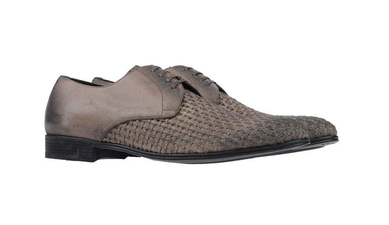 Dolce & Gabbana New Men's Leather Woven Brogue Lace Up Loafers Shoes in Box 2