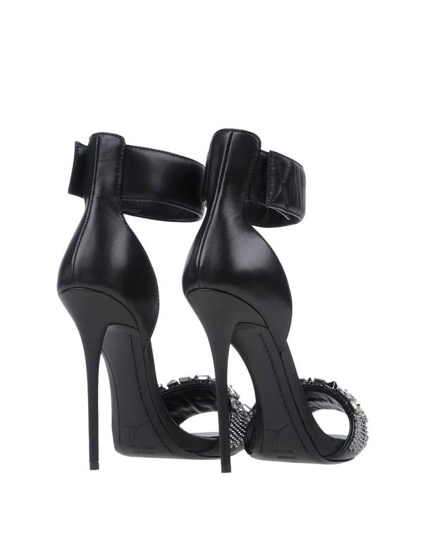 Giuseppe Zanotti New Black Leather Chain Jewel Evening Sandals Heels in Box 4