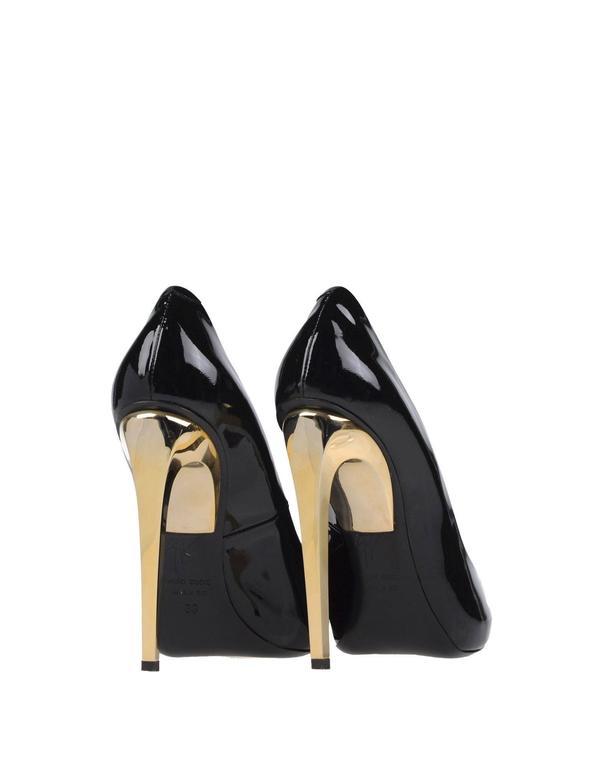Giuseppe Zanotti New Black Patent Leather Gold Metal Heels Pumps in Box 4