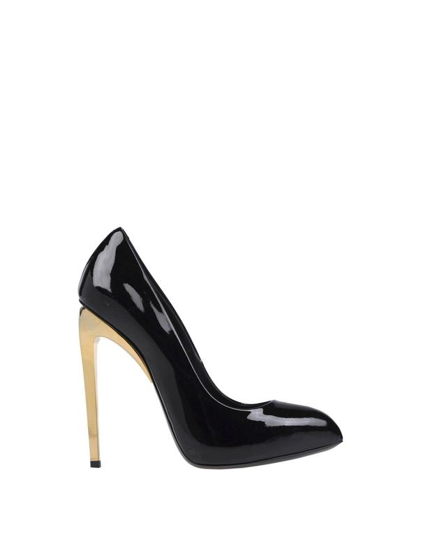 Giuseppe Zanotti New Black Patent Leather Gold Metal Heels Pumps in Box 2