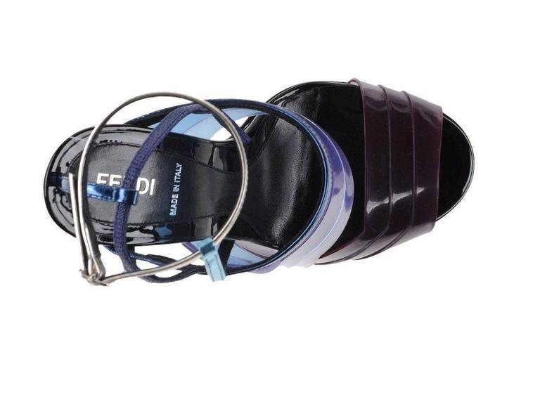 Fendi New Runway Blue Purple Silver Cut Out Sandals Heels in Box 4