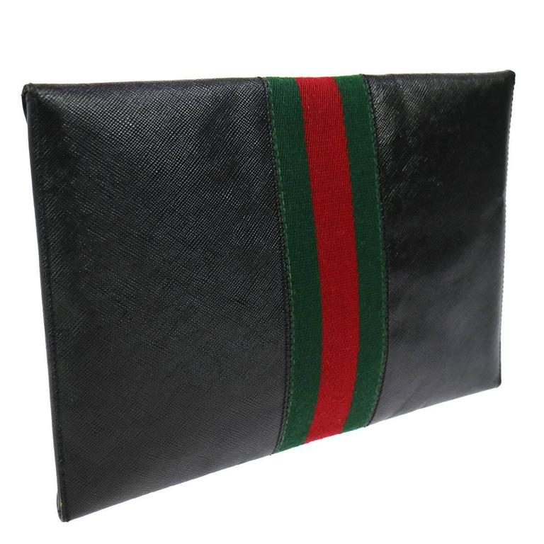 e793538292 Gucci Black Leather Web Men's Women's Tech Envelope Evening Clutch Bag With  Keys