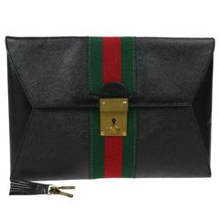 Gucci Black Leather Web Men's Women's Tech Envelope Evening Clutch Bag With Keys