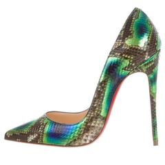 Christian Louboutin New Rainbow Snakeskin Evening Leather Heels Pumps in Box