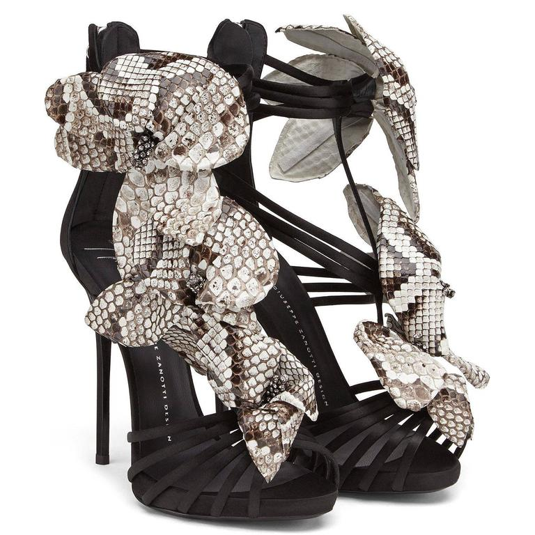 Giuseppe Zanotti Black Satin Leather Flower Evening Sandals Heels in Box In New never worn Condition For Sale In Chicago, IL