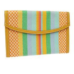 Hermes Cognac Leather Multi Color Canvas Envelope Evening Clutch Bag